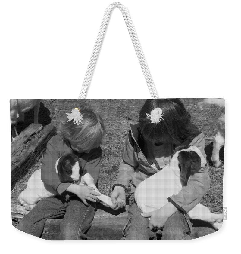Kid Weekender Tote Bag featuring the photograph Baby Feet by Sheri Lauren