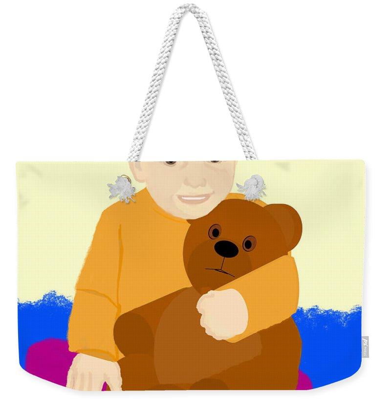 Baby Holding Teddy Bear Weekender Tote Bag featuring the painting Baby Holding Teddy Bear by Pharris Art