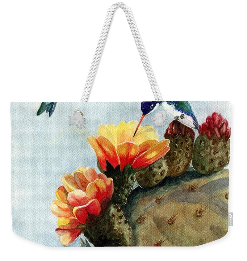 Hummingbirds Weekender Tote Bag featuring the painting Baby Makes Three by Marilyn Smith
