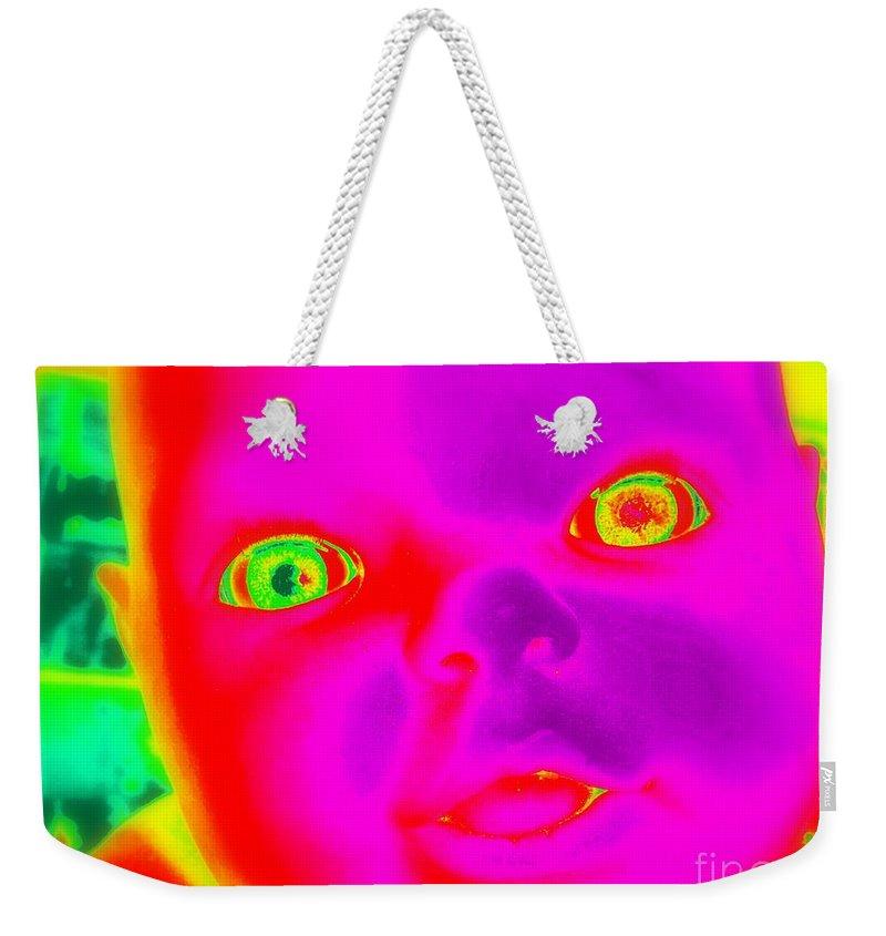 Pop Art Weekender Tote Bag featuring the digital art Babyface by Ed Weidman