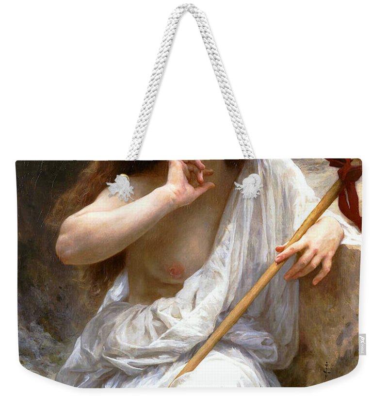 Bacchante Weekender Tote Bag featuring the digital art Bacchante by William Bouguereau