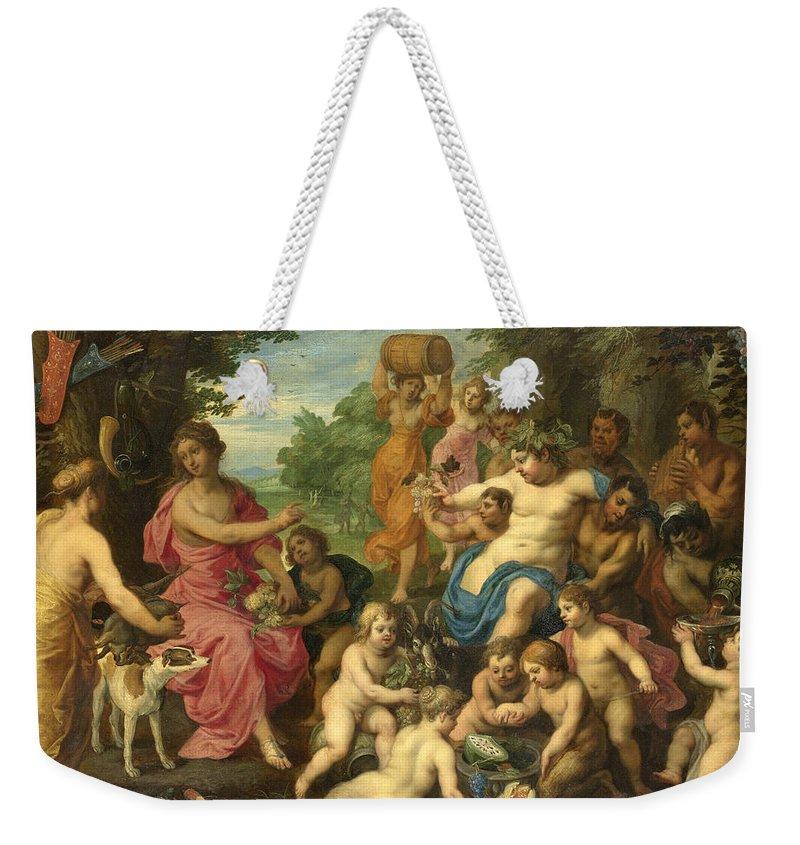 bee4fb6601cc2 Hendrick Van Balen Weekender Tote Bag featuring the painting Bacchus And  Diana by Hendrick van Balen