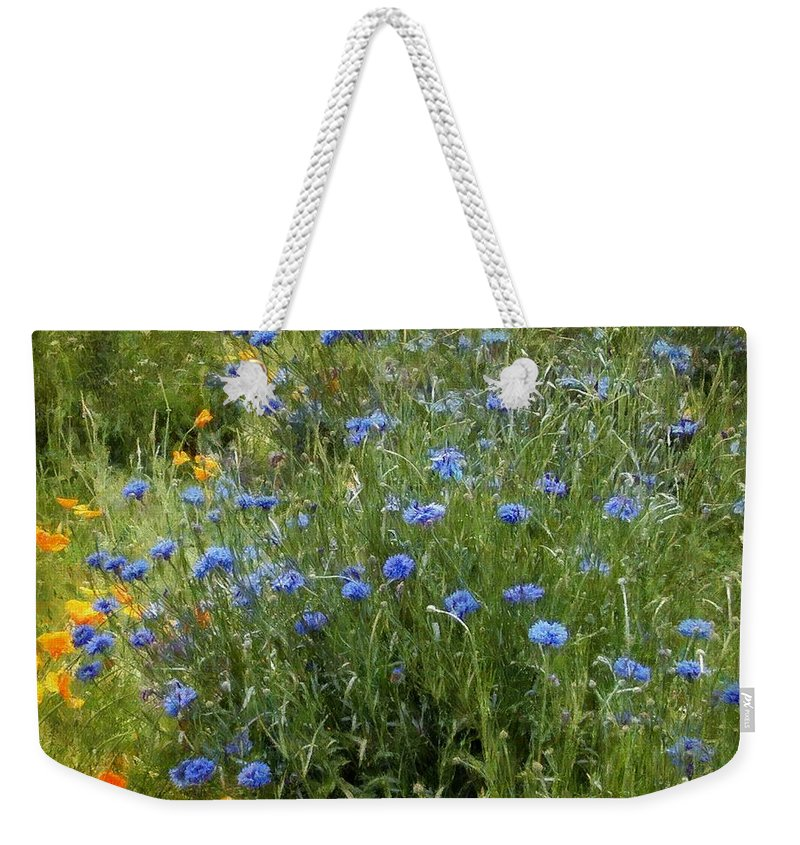 Landscape Weekender Tote Bag featuring the painting Bachelor's Meadow by RC DeWinter