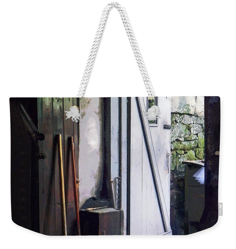 Steampunk Weekender Tote Bag featuring the photograph Back Door Of Shop by Susan Savad