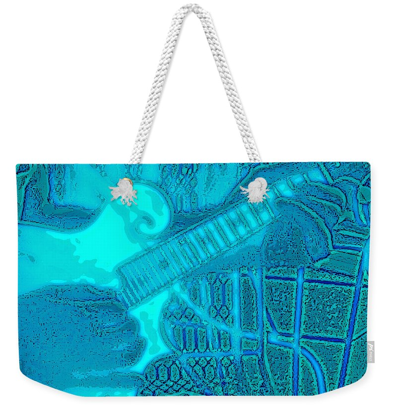 Mandolin Weekender Tote Bag featuring the photograph Back Porch Pickin' Pop Art In Blue by Barb Dalton