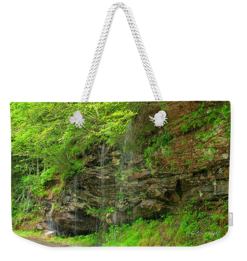 Feature Art Weekender Tote Bag featuring the photograph Backroads Waterfall In West Virginia by Paulette B Wright