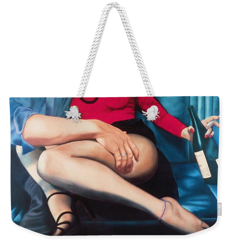 Sensual Weekender Tote Bag featuring the painting Backseat Number by Mary Ann Leitch
