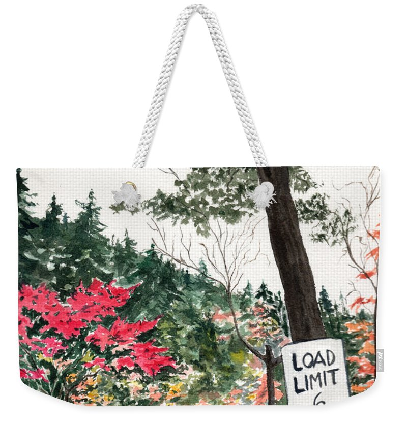 Watercolor Weekender Tote Bag featuring the painting Backwoods Bridge by Brenda Owen