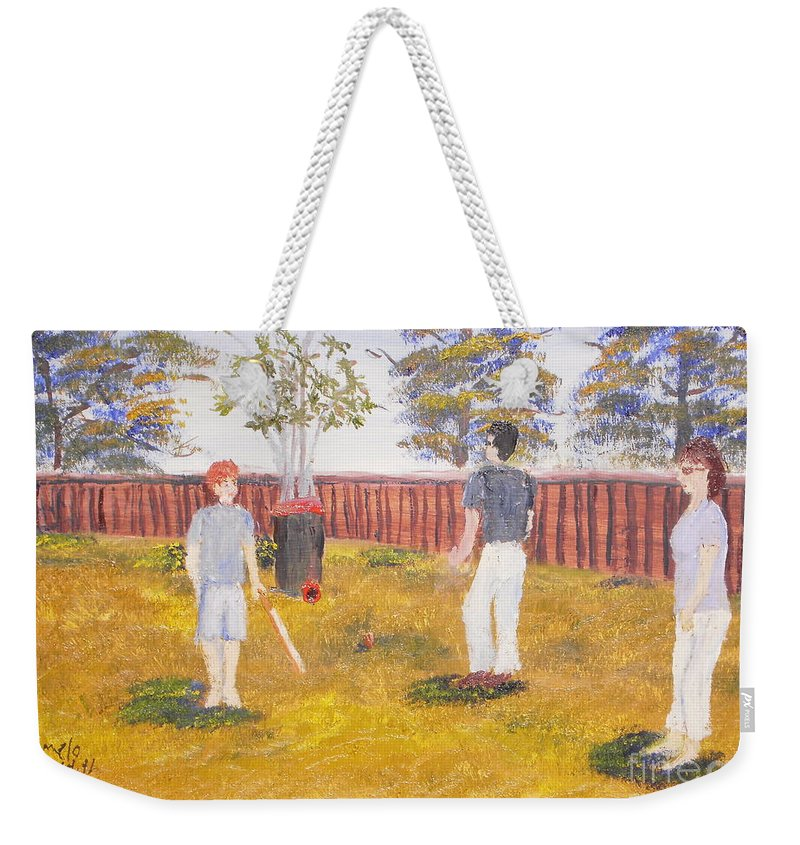 Impressionismoils Weekender Tote Bag featuring the painting Backyard Cricket Under The Hot Australian Sun by Pamela Meredith