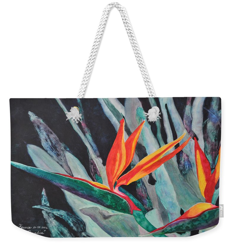 Birds Of Paradise Weekender Tote Bag featuring the painting Backyard Paradise by Mickey Krause