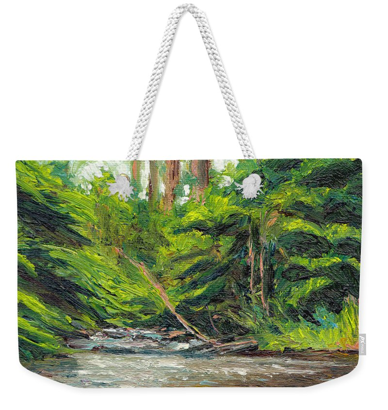 Stream Weekender Tote Bag featuring the painting Badger Creek Above The Weir by Dai Wynn