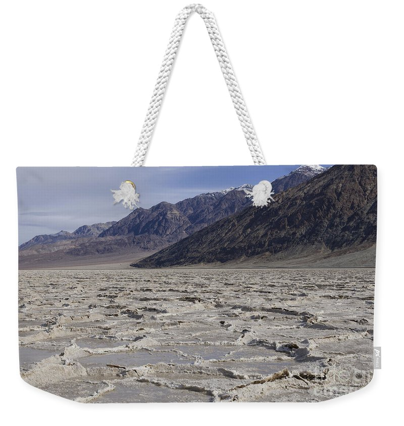 Southwest Weekender Tote Bag featuring the photograph Badwater Basin Vista by Sandra Bronstein
