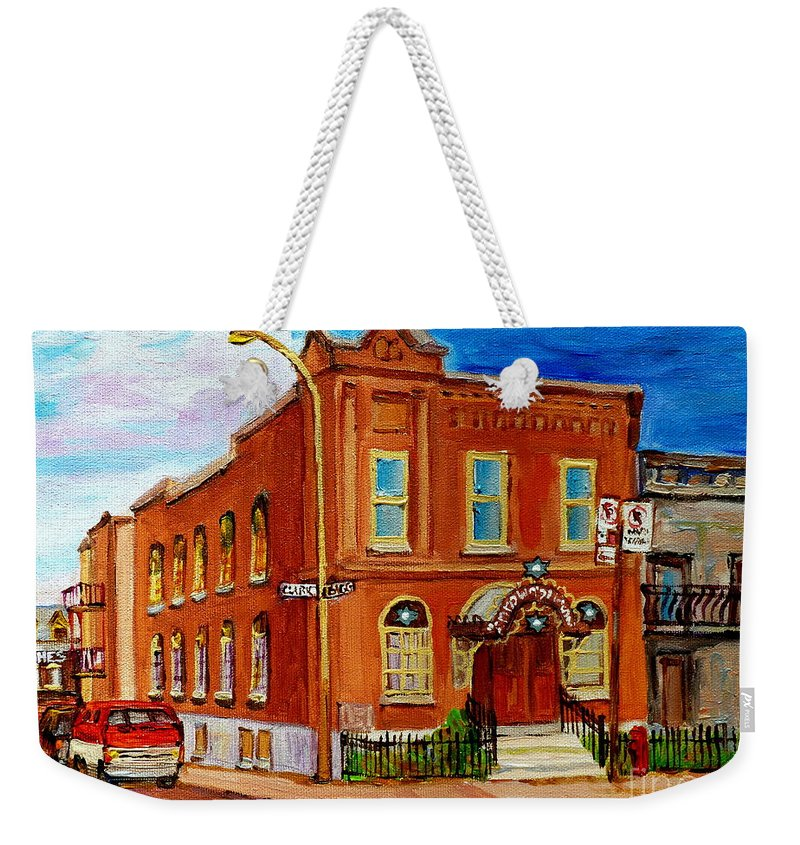 Montreal Weekender Tote Bag featuring the painting Bagg And Clark Street Synagogue by Carole Spandau