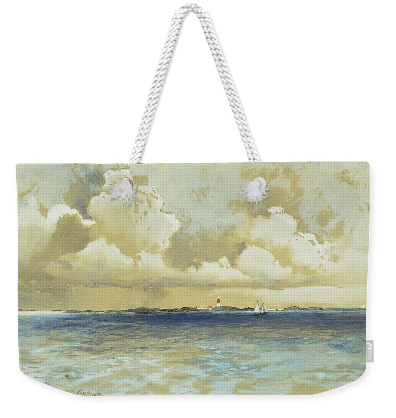 Watercolor Weekender Tote Bag featuring the painting Bahama Island Light by Thomas Moran