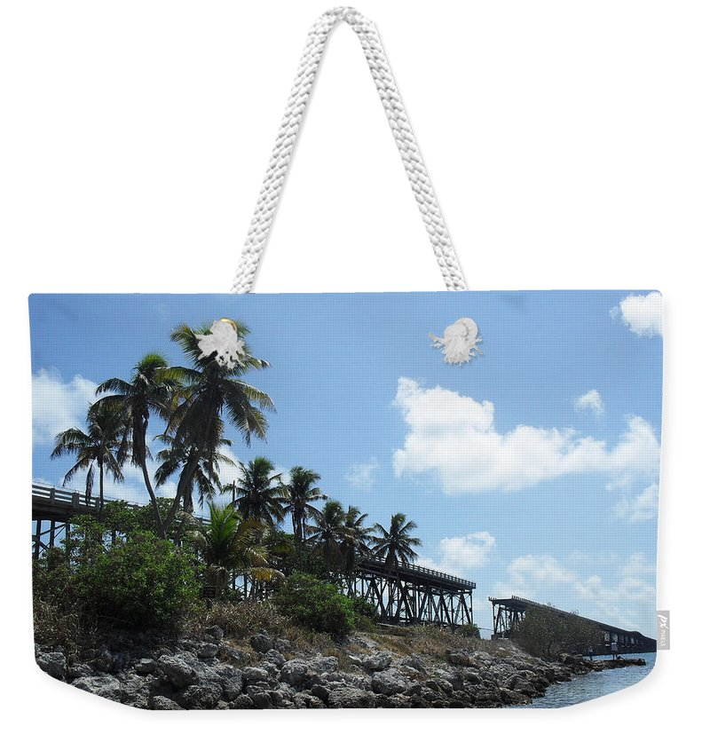 Tropical Weekender Tote Bag featuring the photograph Bahi Bridge by Sheryl Chapman Photography