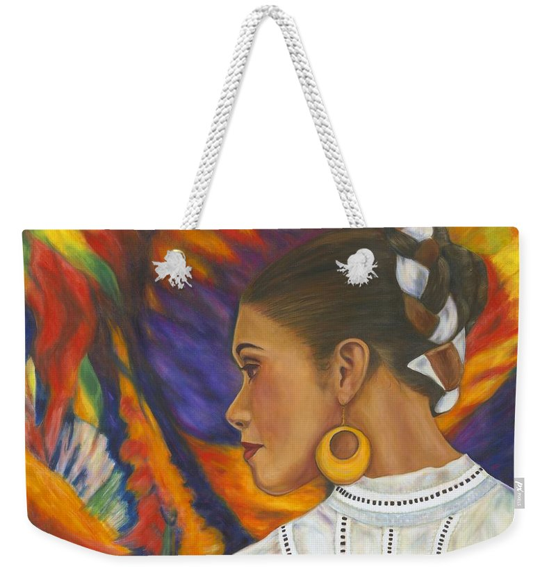 Mexican Weekender Tote Bag featuring the painting Baile Con Colores by Pat Haley