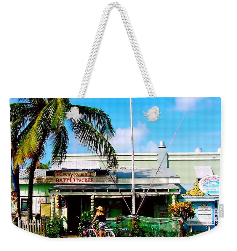 Key West Painting Weekender Tote Bag featuring the painting Bait And Tackle Key West by Iconic Images Art Gallery David Pucciarelli