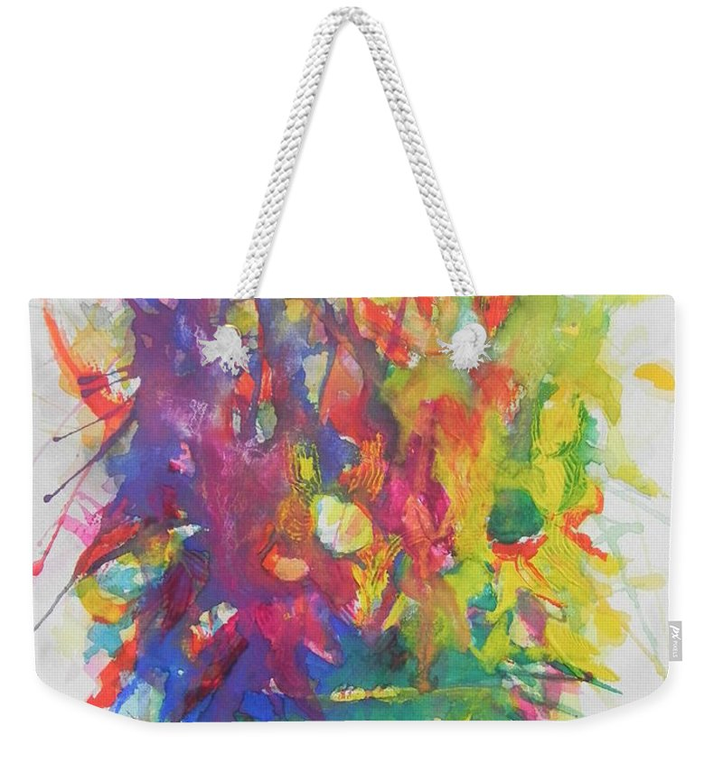 Watercolor Painting Weekender Tote Bag featuring the painting Balance Brings Happiness by Chrisann Ellis