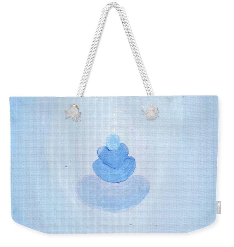 Meditation Weekender Tote Bag featuring the painting Balanced And Protected In Your Own Energy by Catt Kyriacou