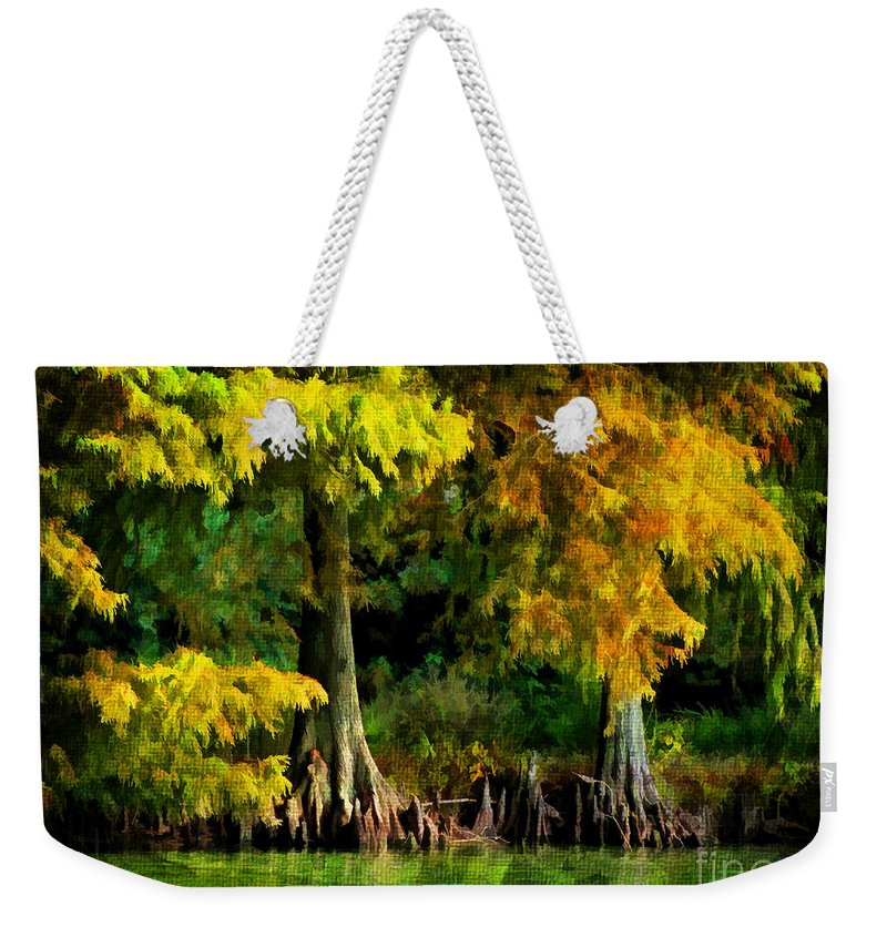 Cypress Weekender Tote Bag featuring the photograph Bald Cypress 2 - Digital Effect by Debbie Portwood