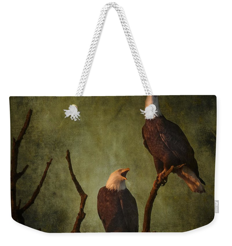 Bald Eagle Serenade Weekender Tote Bag featuring the photograph Bald Eagle Serenade by Wes and Dotty Weber