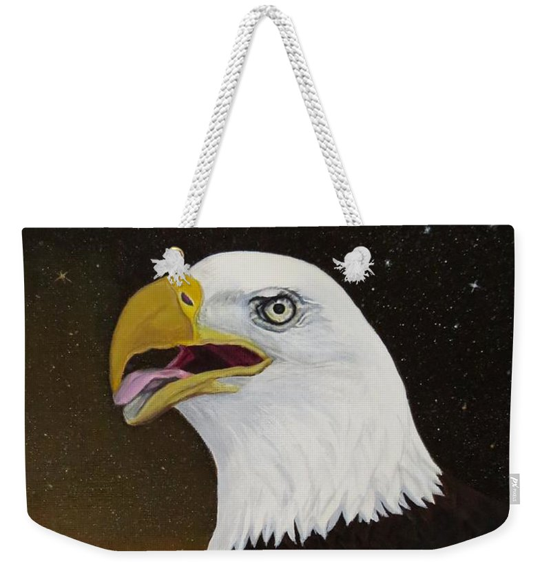 Paintings Weekender Tote Bag featuring the painting Bald Eagle by Zina Stromberg