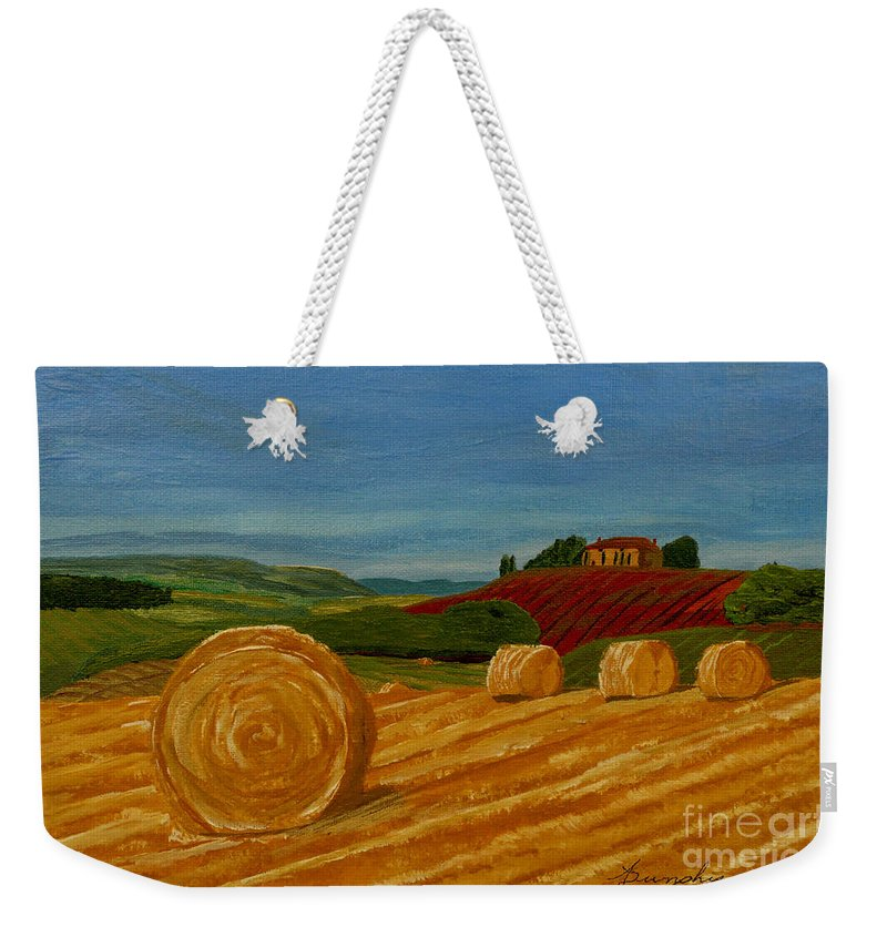 Hay Weekender Tote Bag featuring the painting Field Of Golden Hay by Anthony Dunphy