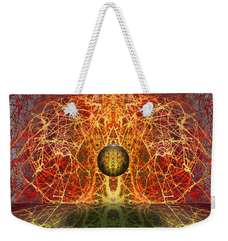 Weekender Tote Bag featuring the digital art Ball And Strings by Otto Rapp