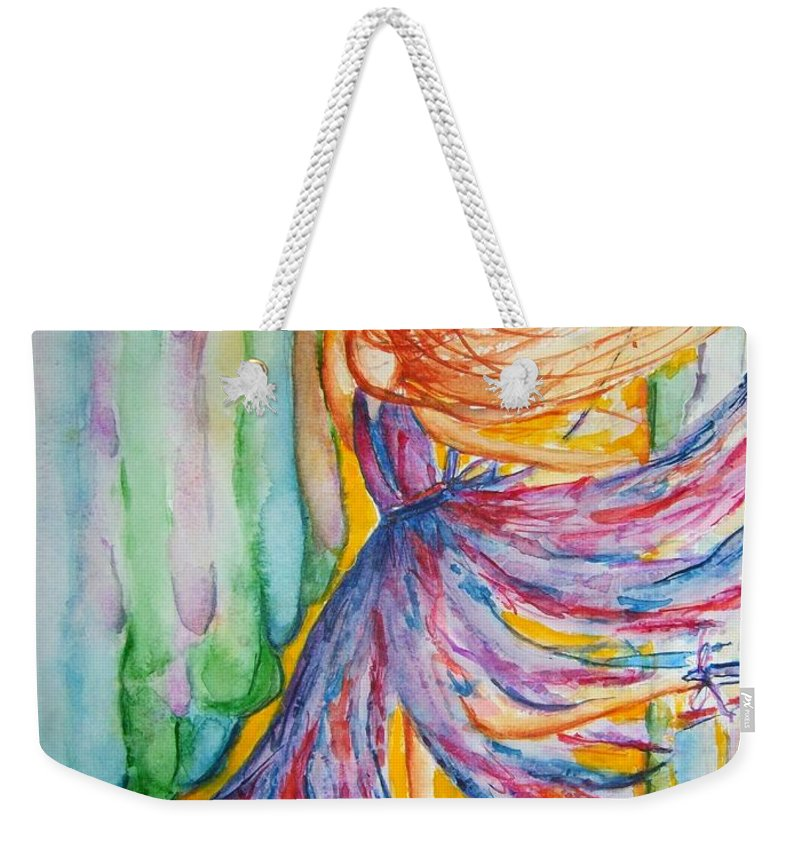 Ballet Weekender Tote Bag featuring the painting Ballerina Curtain Call by Elaine Duras