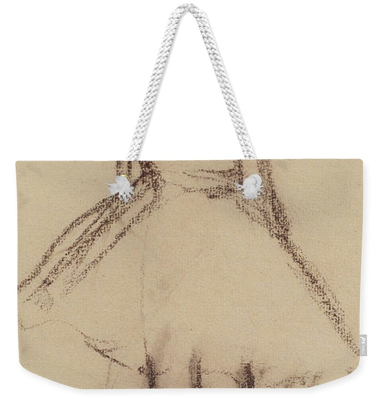 Ballerine Vue De Dos; Ballet Dancer; Female; Girl; Tutu; Dancing; Practice; Drawing; C19th; C20th Weekender Tote Bag featuring the drawing Ballerina Viewed From The Back by Edgar Degas