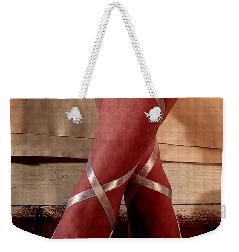 Dancer Ballet Socks Legs Sexy Feet Babe Ribbons Weekender Tote Bag featuring the photograph Ballerina With Bows 2 by Guy Pettingell