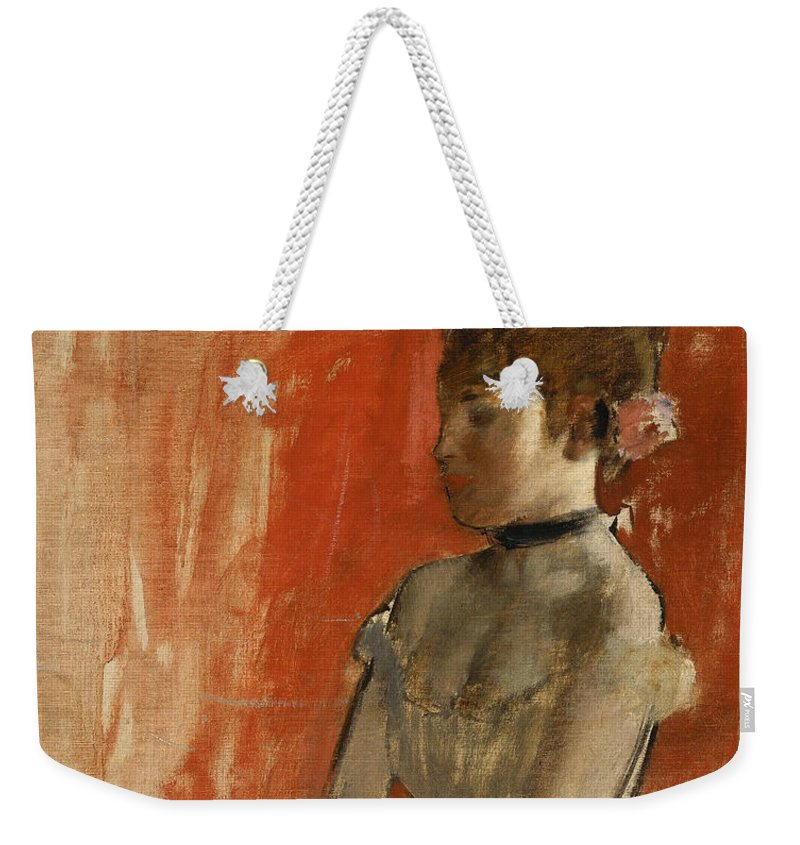 Edgar Degas Weekender Tote Bag featuring the painting Ballet Dancer With Arms Crossed by Edgar Degas