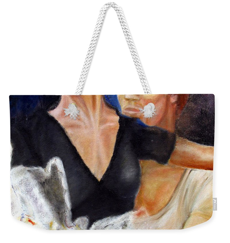 Ballet Weekender Tote Bag featuring the painting Ballet Dancers Rehearse For La Bayadere by Tom Conway