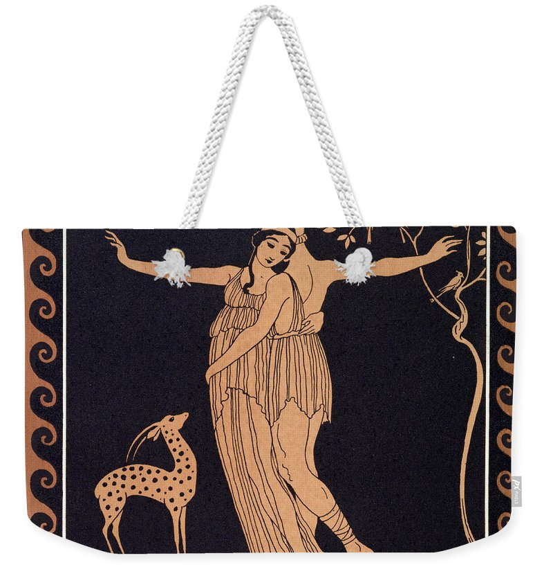 Ballets Russes Weekender Tote Bag featuring the painting Ballet Scene With Tamara Karsavina by Georges Barbier