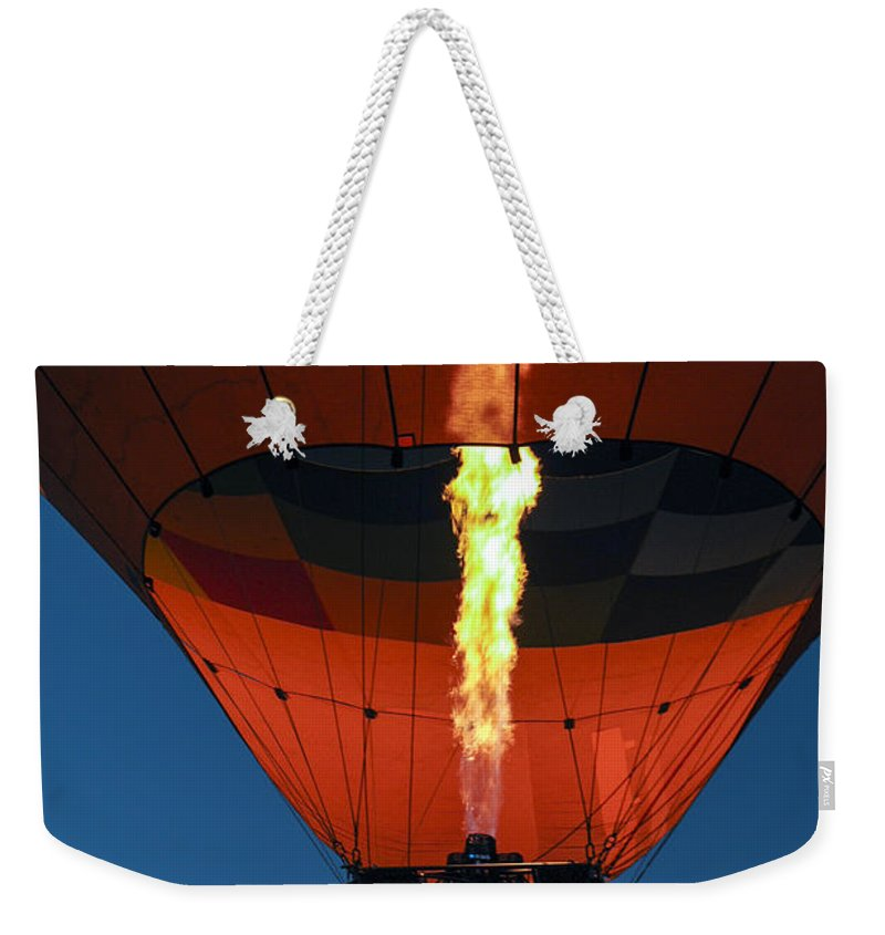 Hot Air Balloon Ride Napa Valley California Basket Baskets Fire Fires Burner Burners Passenger Passengers People Persons Pilot Pilots Motion Still Life Weekender Tote Bag featuring the photograph Balloon Ride At Dawn by Bob Phillips
