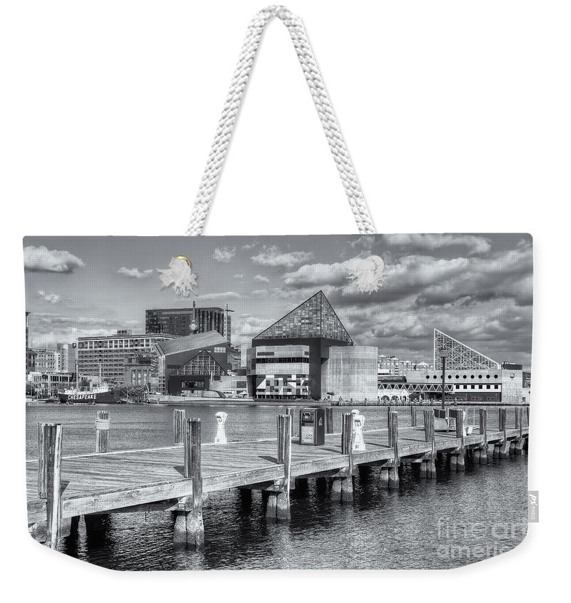 Clarence Holmes Weekender Tote Bag featuring the photograph Baltimore Inner Harbor Skyline Vi by Clarence Holmes