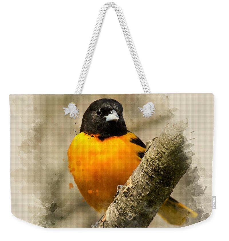 Baltimore Oriole Weekender Tote Bag featuring the mixed media Baltimore Oriole Watercolor Art by Christina Rollo