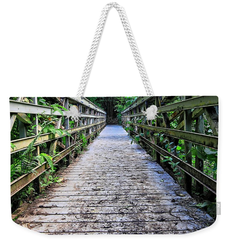 Bridge Weekender Tote Bag featuring the photograph Bamboo Forest Bridge by Edward Fielding