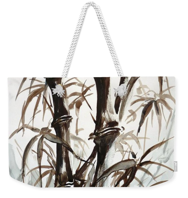 Bamboo Weekender Tote Bag featuring the painting Bamboo by Zaira Dzhaubaeva