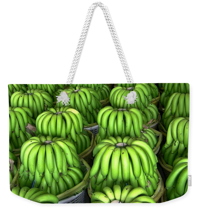 Banana Weekender Tote Bag featuring the photograph Banana Bunch Gathering by Douglas Barnett