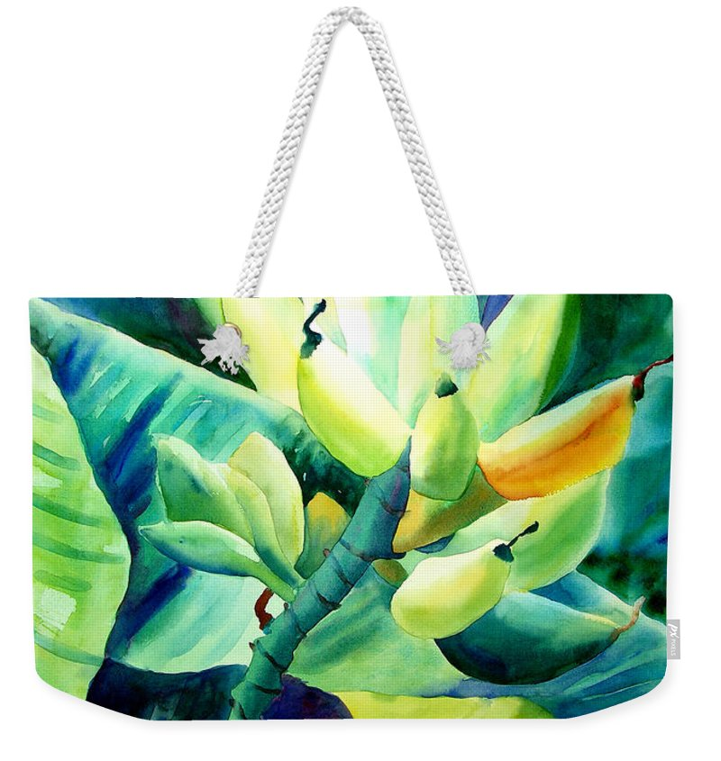 Watercolor Weekender Tote Bag featuring the painting Bananas 6-12-06 Julianne Felton by Julianne Felton