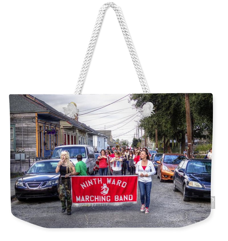 New Orleans Weekender Tote Bag featuring the photograph Band Practice In The Bywater by William Morgan