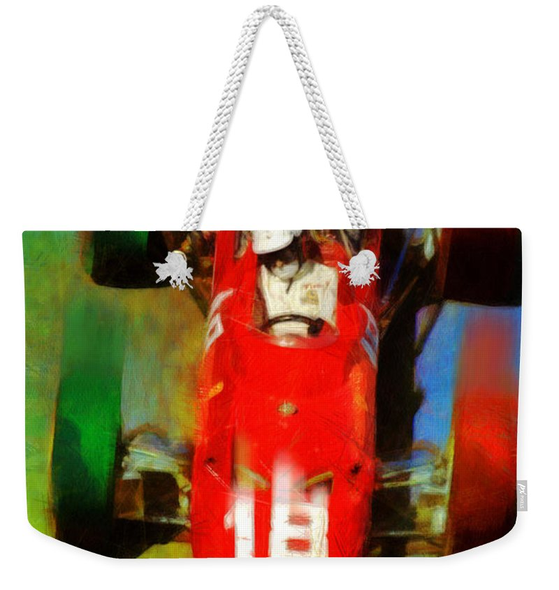 Porsche Weekender Tote Bag featuring the painting Bandini by Tano V-Dodici ArtAutomobile