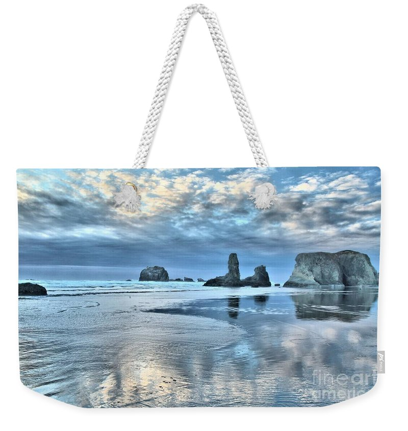 Bandon Beach Weekender Tote Bag featuring the photograph Bandon Sea Stack Reflections by Adam Jewell