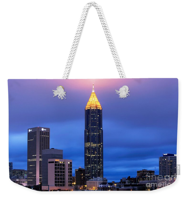 Atlanta Weekender Tote Bag featuring the photograph Bank Of America Plaza by Bill Cobb