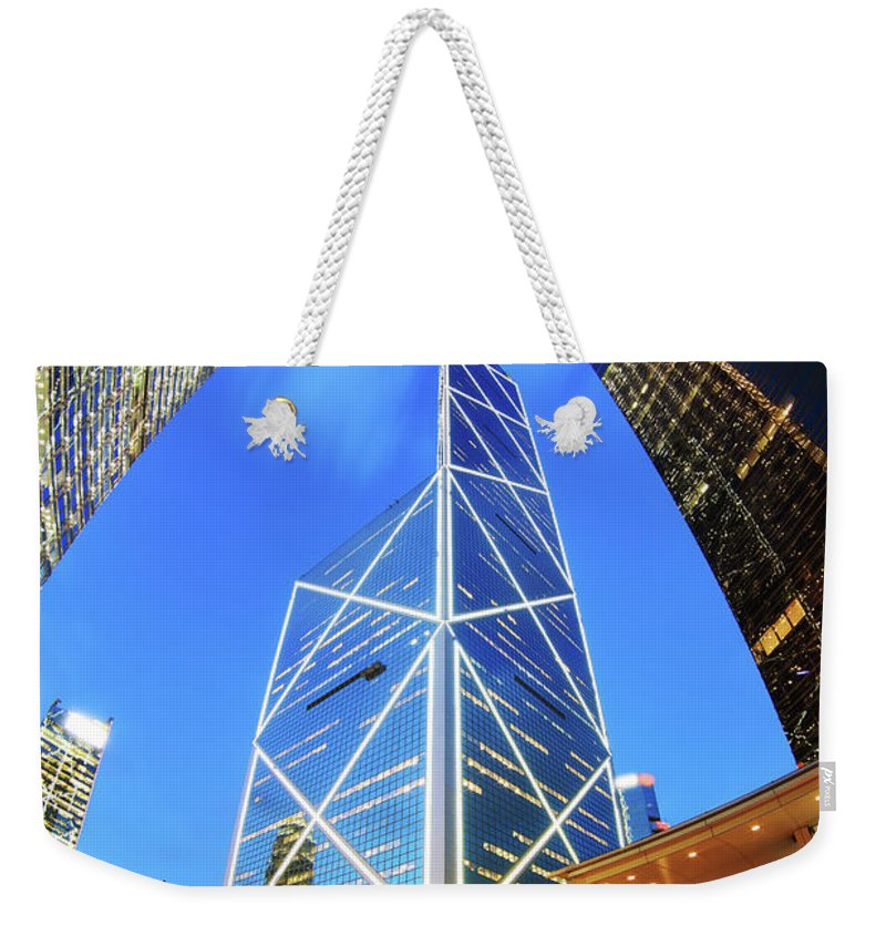Corporate Business Weekender Tote Bag featuring the photograph Bank Of China Hong Kong by Samxmeg