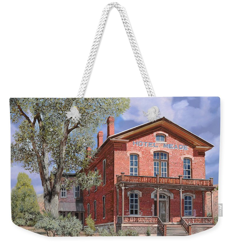 Montana Weekender Tote Bag featuring the painting Bannock-montana-hotel Meade by Guido Borelli