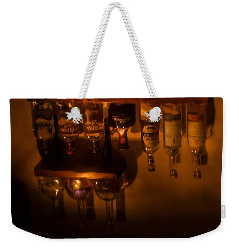 Liquor Weekender Tote Bag featuring the photograph Bar Reflection by Photos By Cassandra