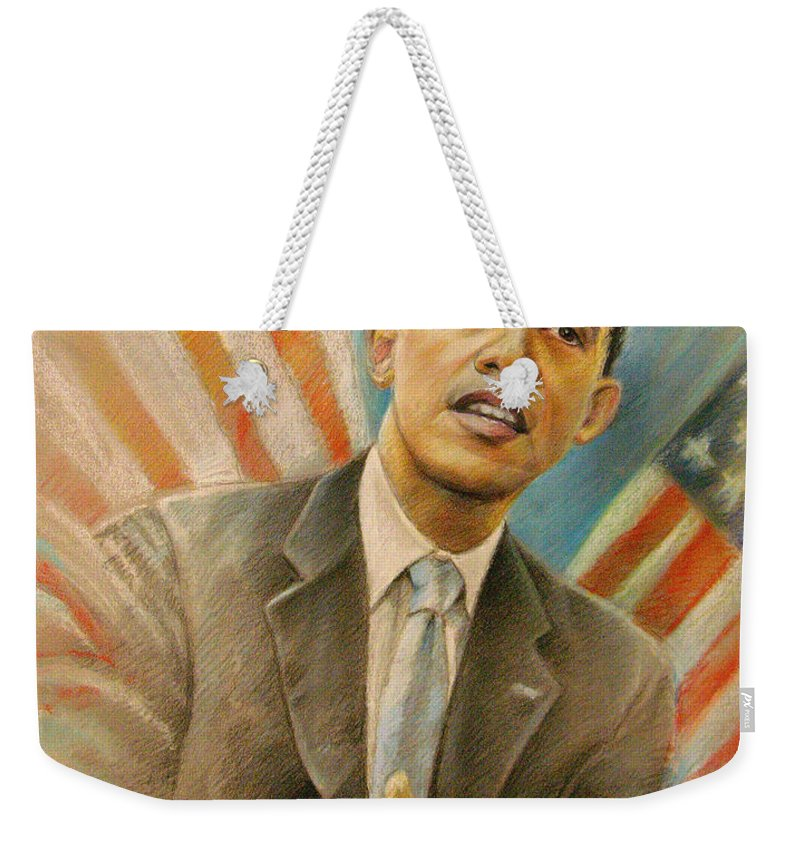 Barack Obama Portrait Weekender Tote Bag featuring the painting Barack Obama Taking It Easy by Miki De Goodaboom