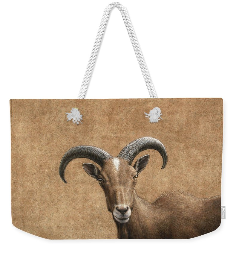 Barbary Ram Weekender Tote Bag featuring the painting Barbary Ram by James W Johnson